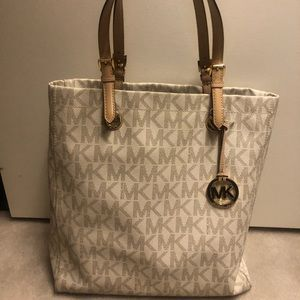 Michael Kors Large White Leather Tote